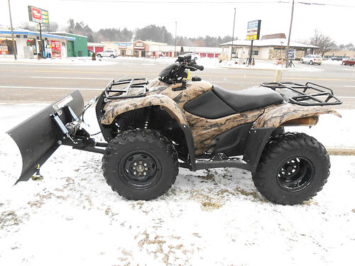 2013 HONDA FourTrax Rancher 4x4 camo EPS with plow only 645 miles only 4999