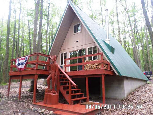 NHN Townline Lake Road Harrison - 20 acres rolling wooded land 4 bedroom wood A-frame fireplace