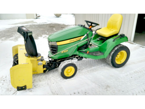 JOHN Deere X500 25hp Kawasaki 54 deck 44 snowblower grossmowersalescom 3375 810-845-0547 or