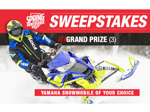 ENTER Yamahas 2019 Spring Power Surge Sweepstakes for a chance to win a Yamaha snowmobile Yamaha g