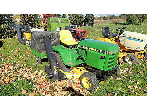 JOHN Deere 316 50 cut with power flo bagger 18 HP Onan 2400 grossmowersalescom 810-845-0547