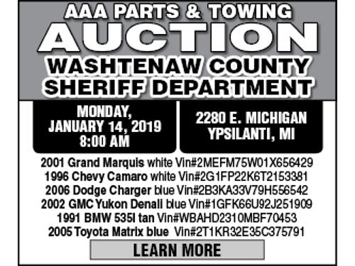 WASHTENAW COUNTY SHERIFF DEPARTMENT - MONDAY JANUARY 14 201 800 AM