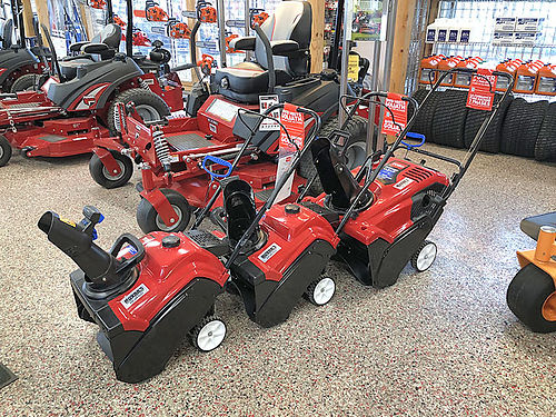 NOW carrying Toro single and two stage snowblowers multiple in stock starting at 359 Call for det