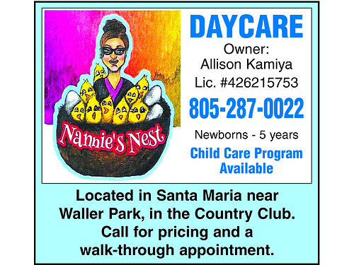 CHILD CARE Program Available Newborns to 5 years Located in Santa Maria near Waller Park in the C