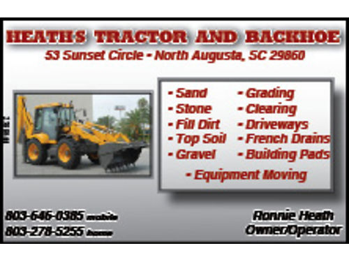 HEATH'S TRACTOR & BACKHOE SERVICE BULLDOZER, BACKHOE, ...