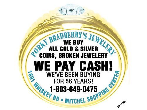 Porky Bradberrys Jewelry We Buy All Gold  Silver Coins Broken Jewelry We Pay Cash Weve Been B
