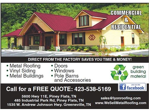 LYON METAL ROOFING The Best in Products Quality  Service Metal Roofing Doors Vinyl Siding Wind