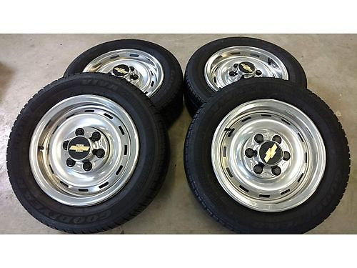 WHEEL  TIRES set of 4 Chevy Truck Rallys 16 6 lug wcaps  beauty rings Goodyear P21560R16