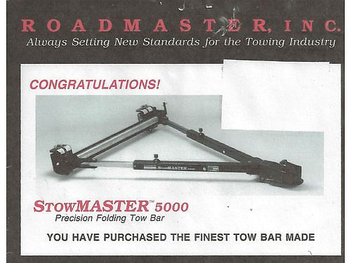 TOW BAR Stowmaster 5000 Stainless Steel slides foldable used once like new 250 obo Evensv