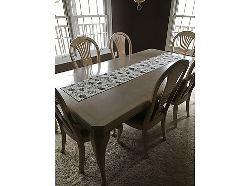 DINING ROOM SUITE White Washed Table 6 Chairs wnewly covered seats buffet china cabinet good