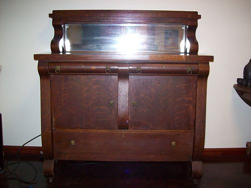 SIDEBOARD Antique over 100yrs old family heirloom Velvet drawers shelving inside large bottom d