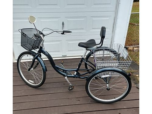 ADULT TRIKE Navy Blue Schwinn 3 Wheel 1spd Adult Tricycle added seat wbackrest front  rear bas