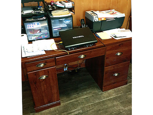 DESK walnut student desk pull out center 54in x 24in 175 OBO