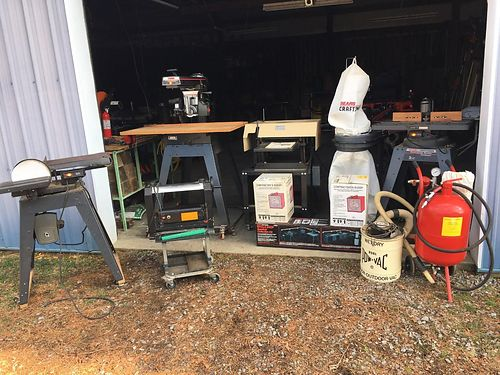 WOOD SHOP EQUIPMENT planer radial arm saw table top planer whole shop vac sys