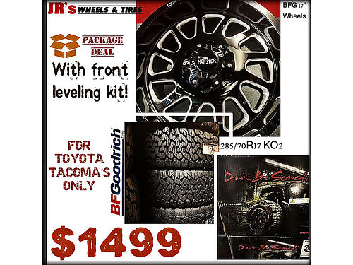 PACKAGE deal Alert BFG Off Road Monster 17 wheels with BF Goodrich K02 28570R17 Tires and front l